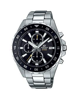Casio Casio Casio Ediface Black And Silver Chronograph Dial Stainless  ... Picture