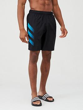Adidas   3 Stripe Swim Shorts - Black