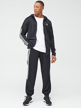 Adidas   3 Stripe Hooded Tracksuit - Black