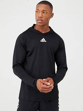 Adidas Adidas Training 3 Stripe+ Overhead Hoodie - Black Picture