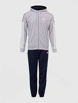 Adidas   3 Stripe Hooded Tracksuit - Grey/Navy