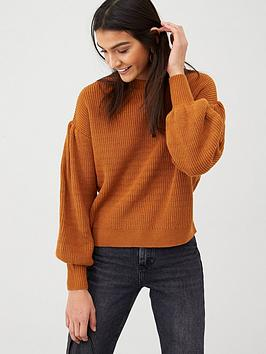 v-by-very-dropped-shoulder-balloon-sleeve-jumper-rust
