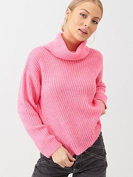 v-by-very-roll-neck-jumper-pink