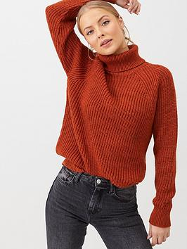 v-by-very-roll-neck-longline-jumper-rust