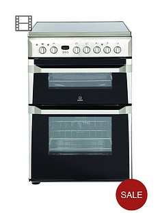 indesit-id60c2x-60cm-wide-double-oven-electric-cooker-with-ceramic-hob-stainless-steel