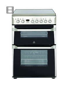 indesit-id60c2xs-60cmnbspdouble-oven-electric-cooker-with-ceramic-hob-stainless-steel