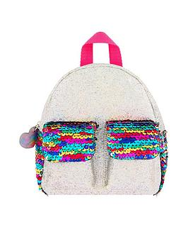 accessorize-sequin-double-pocket-backpack-silver