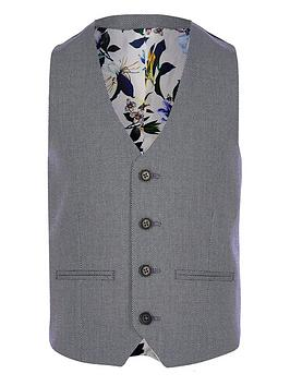 River Island River Island Boys Textured Pin Dot Suit Waistcoat - Blue Picture