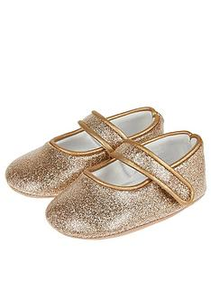monsoon-baby-brianna-gold-glitter-crib-shoesnbsp--gold