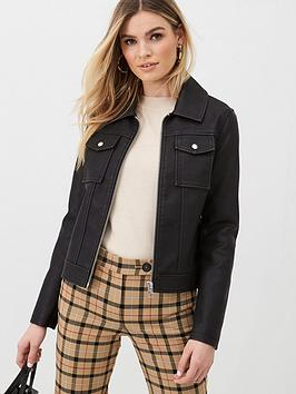 V by Very V By Very Faux Leather Pocket Detail Jacket - Black Picture