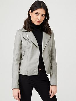 V by Very V By Very Faux Leather Pu Jacket - Grey Picture