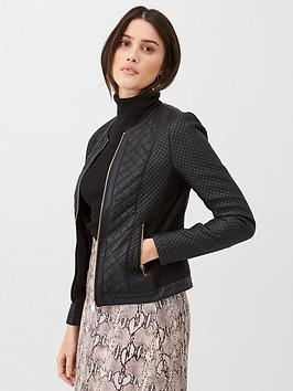 V by Very V By Very Quilted Faux Leather Jacket - Black Picture