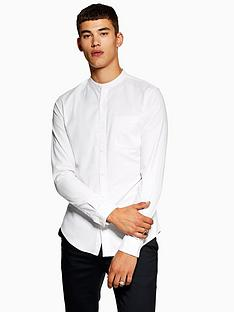 topman-topman-stretch-grandad-collar-shirt-white