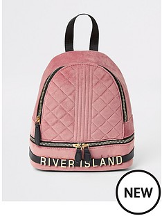 river-island-girls-quilted-velvet-backpack