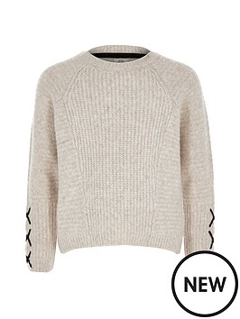 river-island-girls-cross-sleeve-jumper-cream