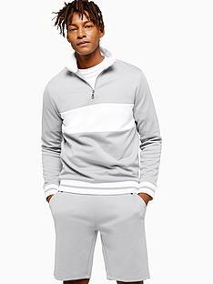 topman-topman-panelled-half-zip-sweatshirt-grey