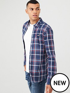 tommy-jeans-checked-long-sleeved-poplin-shirt-navy