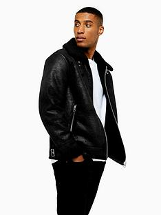 topman-topman-shearlingnbspfaux-leather-aviator-jacket-black