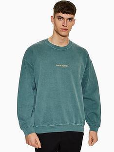 topman-topman-santa-monica-washed-sweatshirt-green