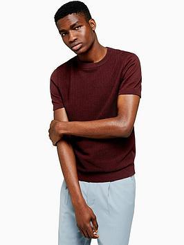 topman-topman-short-sleeve-knitted-jumper-burgundy