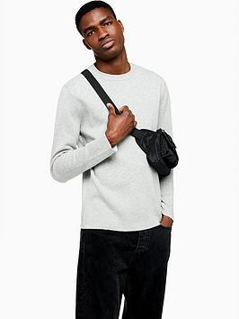 topman-topman-double-face-knitted-jumper-grey