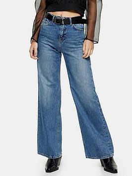 Topshop Topshop Slim Wide Leg High Rise Jeans - Mid Blue Picture