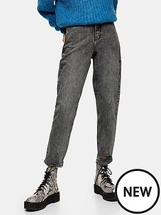 topshop-topshop-grey-ripped-hem-high-waist-mom-jeans-grey