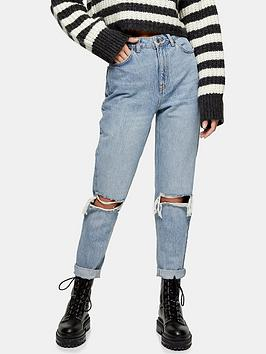 topshop-double-rip-high-waist-mom-jeans-bleached