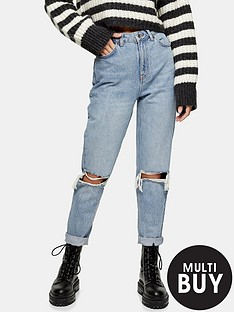 topshop-topshop-double-rip-high-waist-mom-jeans-bleached