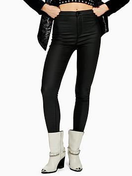 Topshop Topshop Topshop Joni Coated Power Stretch Skinny Jeans - Black Picture
