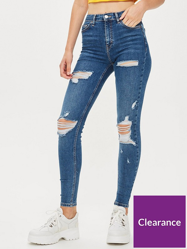 Topshop JAMIE Skinny High Waisted RIPPED Blue Stretch Ankle Crop Jeans 8 W26 L30