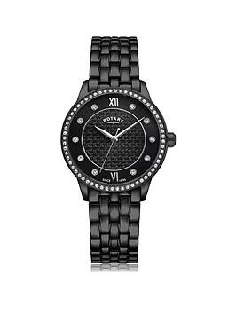 Rotary Rotary Exclusive Rotary Black Textured Swarovski Set Dial Black Ip  ... Picture