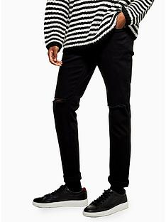 topman-topmannbspdouble-ripped-stretch-skinny-jeans-black