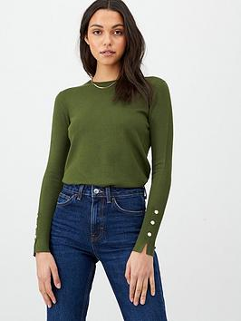 V by Very V By Very Core Rib Detail Crew Jumper - Khaki Picture