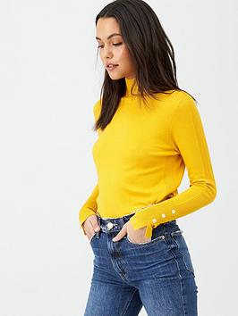 v-by-very-core-rib-detail-funnel-neck-jumper-mustard