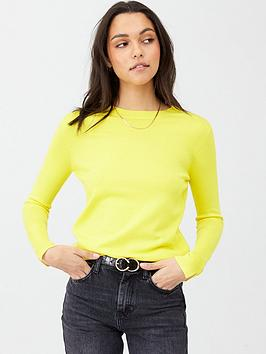 v-by-very-core-rib-detail-crew-jumper-yellow