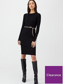 v-by-very-shoulder-button-dress-black
