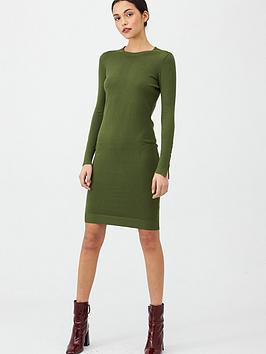 v-by-very-shoulder-button-dress-green