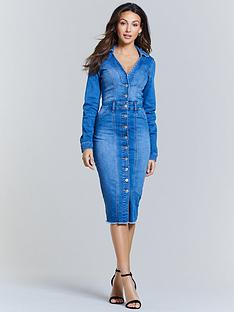 michelle-keegan-open-collar-denim-pencil-dress-blue