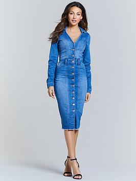 michelle-keegan-open-collar-denim-pencil-dress-blue