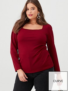 v-by-very-curve-square-neck-crepe-top-raspberry