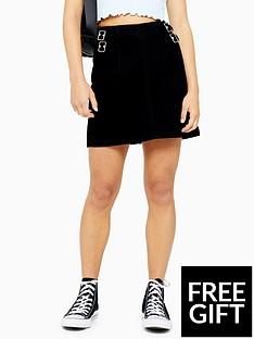 topshop-topshop-petite-buckle-a-line-denim-mini-skirt-black