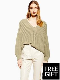 topshop-topshop-v-neck-boxy-fit-knitted-jumper-olive