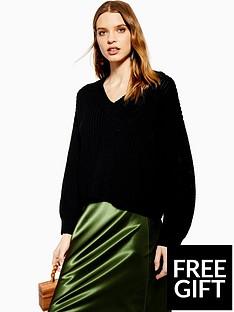 topshop-topshop-v-neck-knitted-jumper-black
