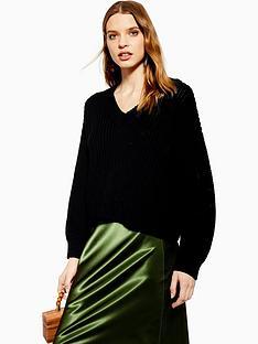 topshop-v-neck-knitted-jumper-black