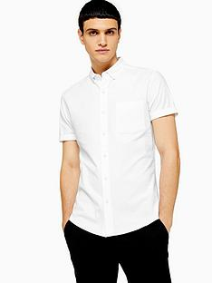 topman-topman-short-sleeve-stretch-oxford-shirt-white
