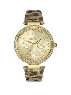 bulova-carvelle-gold-sunray-crystal-set-multi-dial-leopard-print-leather-strap-ladies-watch