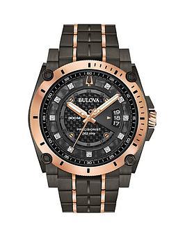 bulova-bulova-precisionist-gunmetal-grey-and-rose-gold-detail-diamond-set-dial-two-tone-stainless-steel-bracelet-mens-watch
