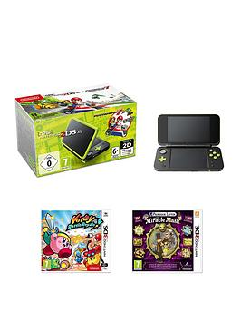 nintendo-new-nintendo-2ds-xl-black-and-lime-green-with-mario-kart-7-kirby-battle-royale-and-professor-layton-and-the-miracle-mask