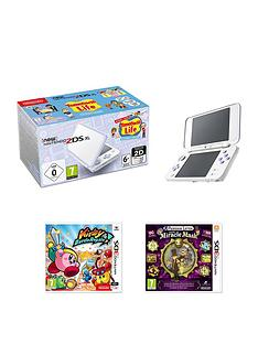 nintendo-new-nintendo-2ds-xl-white-and-lavender-with-tomodachi-life-kirby-battle-royale-and-professor-layton-and-the-miracle-mask